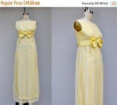 SALE Vintage 60s Dress  Canary Yellow Dress  Empire Waist