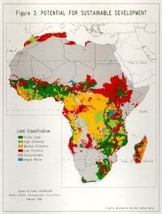 Map: Africa's Potential for Sustainable Development ~my visual future plan, can't wait to be there..