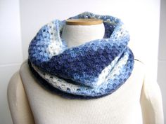 Crochet Lace Cowl  Blue Porcelain  Squishy by sheilalikestoknit,