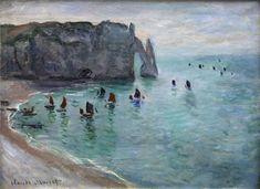 Claude Monet 1885 Étretat, Cliff d'Aval, Fishing Boats Leaving oil on panel Musée des Beaux-Arts de Dijon, France