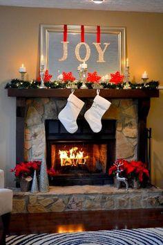 Simple Beautiful Holiday Mantel DIY JOY Letters