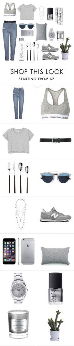 """""""G R E Y """" by memartha ❤ liked on Polyvore featuring Topshop, Calvin Klein, Monki, M&Co, Red Vanilla, Christian Dior, Lucky Brand, New Balance, Elvang and Rolex"""