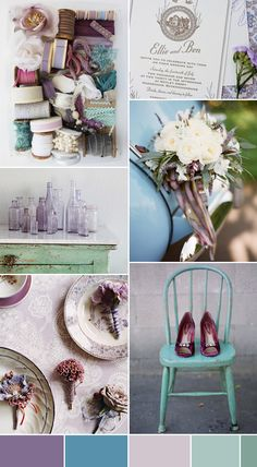 My wedding included these colors! =] Lavender and Blue Wedding Inspiration---Really digging the blue and purple combo. We can use dark and light shades of each color