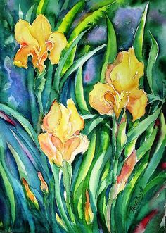 Yellow Irises In The Garden Painting by Trudi Doyle - Yellow Irises In The Garden Fine Art Prints and Posters for Sale
