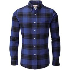 05ca591fea Charles Wilson Long Sleeve Plaid Flannel Shirt (Medium, Blue & Navy) Skót  Kockás