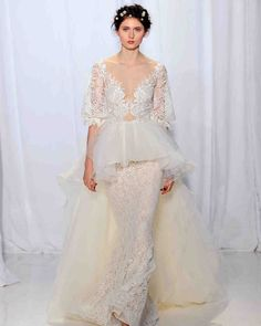 Reem Acra Fall 2017 Wedding Dress Collection   Martha Stewart Weddings – V-neck peplum wedding dress