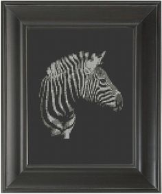 """Zebra"" - From CrassCross.  The cross stitch pattern to make this piece is available for just $5.   http://crasscross.com/collections/miscellaneous/products/zebra-cross-stitch-pattern-chart"