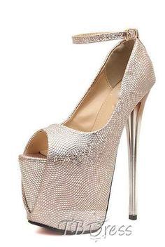 Golden Pink Ankle Strap Platform Stiletto Heel Pumps Heel Pumps, Stiletto Heels, Shoes Heels, Sparkly Heels, Fall Shoes, Womens High Heels, Ankle Strap, Peep Toe, Platform