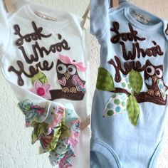 New baby outfit, GIRLS Owl Ruffle bottom , Look Whoo's Here shirt, baby shower gift, spring summer infant clothes - newborn, 3 months. $28.00, via Etsy.