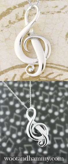 Full of the life and energy that we think of as music, dramatic curves and swirl. Sterling Silver Pendants, Sterling Silver Jewelry, Gold Pendant, Diamond Pendant, Band Nerd, Music Jewelry, Treble Clef, Pentacle, Music Notes