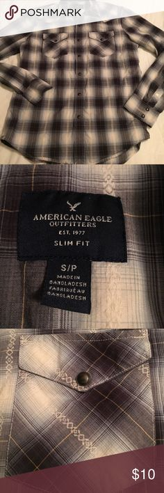 American Eagle 🦅 Men's Slim Fit Snap Shirt American Eagle 🦅 Men's Slim Fit Snap Shirt American Eagle Outfitters Shirts Casual Button Down Shirts