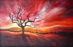Sunrise original painting, red, dead tree, snag, branches, backlit tree, art