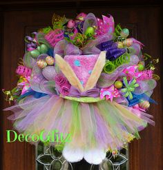 Deco Mesh TUTU EASTER BUNNY with a Pink Hat by decoglitz on Etsy