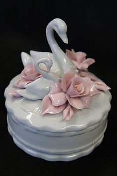 swan candy dish accented with roses