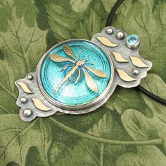 """DRAGONFLY Czech Glass Button - """"Water Dancer"""" Sterling Pendant with faceted blue CZ stone and brass details - OOAK by marybird on Etsy"""
