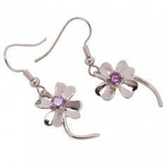 Beautiful Clover Purple Zircon Earrings | favwish - Jewelry on ArtFire