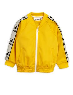 Track jacket with panda sleeve detail by Mini Rodini. Sporty retro-inspired jacket in recycled polyester with zip front, two slanted. Kids Sportswear, Panda Shirt, Yellow Nikes, Retro Kids, Kids Clothing Brands, Sweatshirt, Hoodie, Stella Mccartney Kids, Little Dresses