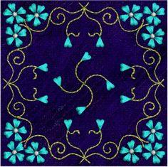 Free Embroidery Design: Forgetmenots Tile Free - I Sew Free