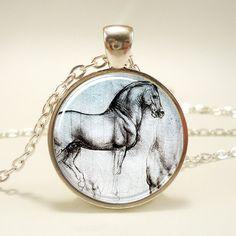 Horse Necklace, Leonardo da Vinci Sketch Pendant, Art Jewelry (1493S1IN)