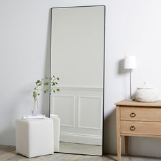 Chiltern Thin Metal Full Length Mirror is part of Home Accessories Bedroom Mirror - Chiltern Thin Metal Full Length Mirror Mirrors Home Accessories Home The Full Body Mirror, Long Mirror, Full Length Mirror In Bedroom, Full Length Mirrors, Golden Mirror, Mirror Mirror, Stand Up Mirror, Hallway Mirror, Shower Mirror
