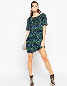 Image 4 of ASOS NIGHT All Over Embellished Peacock Shift Dress
