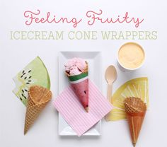 'Feeling Fruity' Free Printable Ice cream Cone Wrappers ~ Tinyme