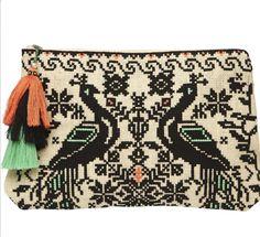 Woven peacock textile bag