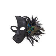 "HALLOWEEN TIME! Peacock feather half covered masquerade mask Black silk ribbon ties Approx: 6"" wide, 9"" tall Hand-made"