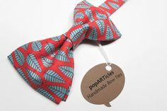 Coral and Grey Bow Tie Handmade Men's PreTied Bow by popARTicles, $26.00