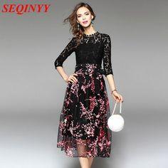 Mesh Patchwork Dress 2017 Spring Summer Fashion Novelty Black Lace Hollw Out 3/4 Sleeve Floral Print Belt Women New Mid Dress