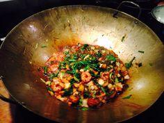 Shrimp, garlic, green onion, chard stir fry in our new wok! Green Onions, Wok, Stir Fry, Preserves, Shrimp, Fries, Garlic, Meals, Preserve