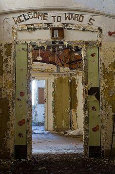 Pilgrim State Hospital, Long Island, NY Abandoned Asylum.  Love the sign above the doorway.