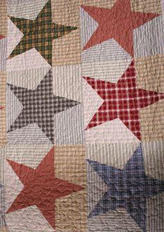 Free Primitive Star Quilt Pattern | Austin Primitive Americana Stars Cotton Quilt reverse Austin Primitive .