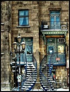 City of Montreal: Quebec: Canada Lovely, curving stairs form an inviting entry to an old building. Quebec Montreal, Montreal Ville, Montreal Food, Quebec City, Beautiful Buildings, Beautiful Places, Beautiful Stairs, Beautiful Pictures, Belle Villa