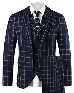 Hanayome Men's 3 PC Casual Stylish Suit Blazer Jacket Tux Vest & Trousers at Amazon Men's Clothing store: