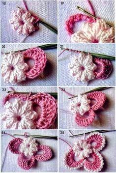 Flor artesanal con ganchillo paso a paso en imágenes   Crochet y Dos agujas