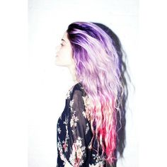 purple pink ombre-esque hair ❤ liked on Polyvore featuring hair, hairstyles, hair styles, colored hair and girls
