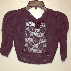 "Blazer Type Lace Cardigan Grey Lace Flower. Never worn. NWOT. 3/4 sleeve, crop top style. Open front. Scrunched sleeve. True color is (pic 3/4). 90% Nylon and 10% Spandex. I will gladly consider offers but please  trades &  PayPal. Please use the ""Submit Offer"" button - offers will not ❌ be negotiated via comment. Iris Jackets & Coats Blazers"
