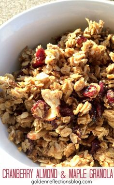 A great way to get the kids in the kitchen helping you with this easy maple granola recipe. www.GoldenReflectionsBlog.com