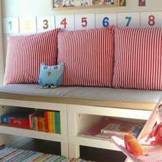 Create a bench . from bedside tables!Really wanted to make a small bench. ++ I love this little owl.IKEA Kallax Hack: Turn the bookcase into a bench with storage {DIY}Simple DIY bench project that makes