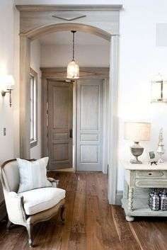 Alice Lane Home - entrances/foyers - wide plank floors, wide plank wood floors, Chic French entrance foyer design with gray French doors, bergere Style At Home, White Washed Furniture, Furniture Legs, Alice Lane Home, Sweet Home, French Country Living Room, Country French, Country Hallway, Wide Plank Flooring