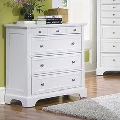 Home Styles 5530-41 Naples Four Drawer Chest, White Finish |
