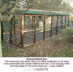 This well made robust rabbit run offers protection on all sides and underneath. over-hanging trees provide shade on sunny days too.