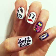 a series of my favourite bands made nail art. panic at the disco, pretty odd , build a god then we will talk, holy trinity of emo Emo Nail Art, Cute Nail Art, Short Nail Designs, Nail Art Designs, Band Nails, Disco Makeup, Music Nails, Gothic Nails, Short Nails Art