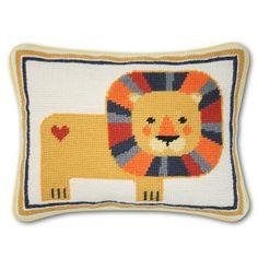 Lion Needlepoint Pillow