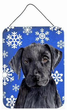 Labrador Winter Snowflakes Holiday Aluminium Metal Wall or Door Hanging Prints