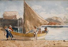 """""""Summertime""""by Winslow Homer, 1880. Watercolor on paper. via @Smithsonian American Art Museum"""