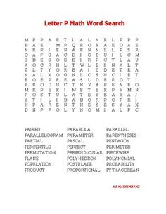 Letter K Math Word Search  Math Words Math Term And Word Search