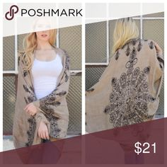 """❤️RESTOCK❤️BOHO MANDALA KIMONO WITH ARM SLITS ❤️RESTOCK❤️BOHO MANDALA KIMONO WITH ARM SLITS, 100% poly, approx 45"""" long, perfect for beaches, poolside, traveling., etc . Accessories Scarves & Wraps"""