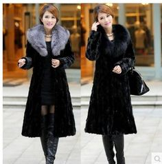 Womens Winter And Autumn Large Size Black Faux Fox Fur Coats Long Section Turn Down Collar Man-Made Fur Overcoats Clothes K132   #like #fantastic #jewelry #lol #great #darrens1960 #lovely #amazing